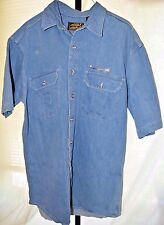 Eddie Bauer Outdoor Outfitters Embroidered Fly Fishing SS Denim Shirt Size LT