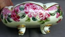 Formalites by Baum Bros. Decorative Footed Bowl - Pink Floral Design w/Gold Edge