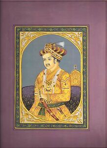 An old look miniature paper painting of A ROYAL MUGHAL PRINCE