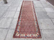 Shabby Chic Old Fragment Hand Made Persian Oriental Brown Wool Runner 342x94cm
