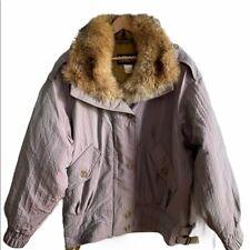 Vintage 80's Women's Head Ski Coat with Fur Collar - size Large