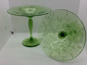 2 PAIRPOINT Cut Green Glass Compotes COLIAS Pattern Spiderweb Butterfly Flower