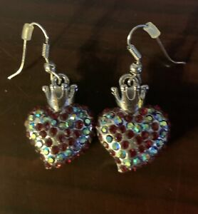 SILVER CROWN HEART SWAROVSKI CRYSTALS  DANGLING EARRINGS Red And Green