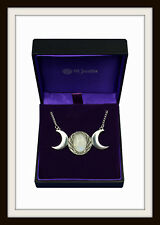 TRIPLE MOON MOONSTONE & PEWTER NECKLACE PENDANT ~ FROM ST. JUSTIN ~ FREE P&P