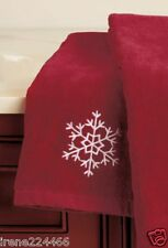 (1) Crimson Red Embroidered White Snowflake Bath Hand Towel Cotton 15x25 NIP
