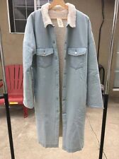 Faux Shearling Extended Denim Coat