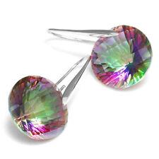 38ct Luxury Genuine MysticTopaz Earrings Dangle Solid 925 Sterling Silver Gift