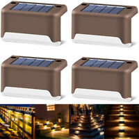 1-8Pcs Solar Powered LED Deck Outdoor Path Garden Stairs Step Fence Lights Lamp