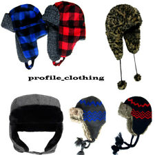 Mens Womens Trapper Trappers Hat HATS FAUX FUR Russian Ski  Lined ASORTED DESIGN