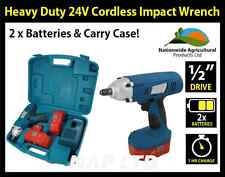 """HEAVY DUTY 1/2"""" DRIVE 24V CORDLESS IMPACT WRENCH, 2 x 24V BATTERIES, CARRY CASE!"""