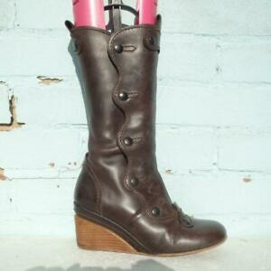 Schuh Leather Boots Size UK 5 Eur 38 Womens Studs SteamPunk Wedge Brown Boots