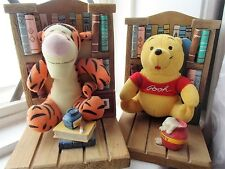 Vintage Set Two children's Disney Winnie The Pooh And Tigger Book Ends and books