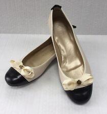 Peter Kaiser Flats Shoes Krim Creme/Black Leather US Sz. 8B/EU 5.5