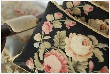 A PAIR! 16X12 Chic BLACK PINK Aubusson Cottage Pillow Cushion Cover French Rose