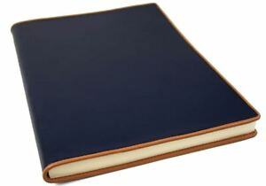 Cortona Leather Journal Navy, A4 Plain Pages - Handmade in Italy