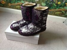 UGG Australia Classic Short  Sequins cheer Purple and Silver Women Boots Size 6