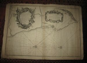 1769 Tommaso Young, CARTA NAUTICA della Costa di TOSCANA, LIVORNO.