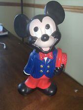 Rare 1976 Walt Disney Ceramic Mickey Mouse Figure Statue As Minstrel Hat Bowtie