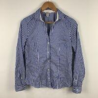 H&M Womens Button Shirt Top Size 10 Blue White Stripe Long Sleeve