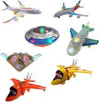 Kids Children Bump & Go Lights & Sound Plane Flashing Music Toys Electrical Boys