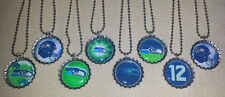 'SET OF 8' SEATTLE SEAHAWKS Bottlecaps with 8 ball chain necklaces!