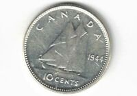 CANADA 1944 TEN CENTS DIME KING GEORGE VI .800 SILVER COIN CANADIAN