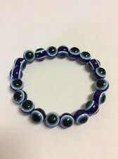 Blue evil eye striped 10mm beads stretch bracelet 19cm Aus Seller