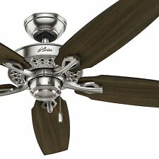 """52"""" Hunter Ceiling Fan, Brushed Nickel - Walnut / Cherry Reversible Fan Blades"""