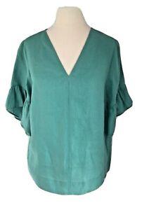 M&S Autograph Jade Green Linen Frill Sleeve Top Size 8 BNWT's