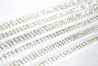1M - SS18 Rhinestone Chain Trim Diamante Crystal Silver Cake Decorations Toppers