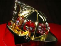 24-K GOLD PLATED & AUSTRIAN CLEAR CRYSTALS MINI FIRE FIGHTER HELMET NEW WITH BOX
