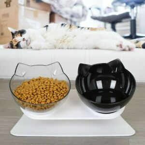 Non-slip Double Pet Bowls with Raised Stand Dog Cat Food Water Feeding Station