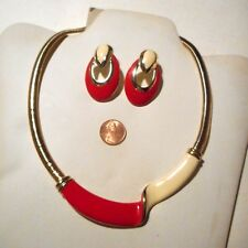 colored necklace&cream&re d earrings Matching necklace earring set red&cream