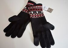 J Jill SMART GLOVES use with Smart Phone or Touch Pad Red Black Fair Isle NEW