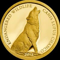 2013 0.5g PROOF Gold 500 Togrog Mongolia Endangered Wildlife WOLF Coin.