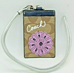 New COACH Lanyard ID Holder, Signature C w/  Flower