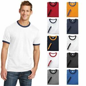 Port & Company PC54R Mens Retro Ringer Tee Short Sleeve Cotton T-Shirt Plain T