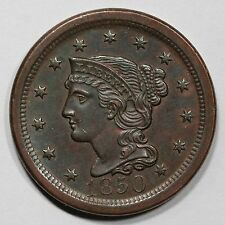 1850 N-15 Braided Hair Large Cent Coin 1c