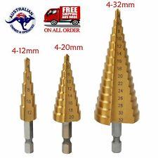 3PCS HSS Step Cone Drill Titanium Steel Metal Hole Cutter Bit Set 4-32mm + Pouch