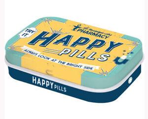 Retro Tin Metal Pill Box 'HAPPY PILLS' with Mints 6 x 4cm Vintage Pharmacy