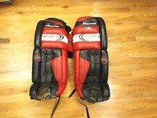"""Vintage Heaton Helite 5 3700 Goalie Hockey Pads 31"""" Black Red"""