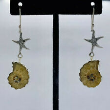 New 925 Sterling Silver Ammonite Fossil Womans Starfish Earrings