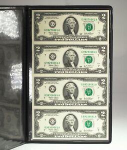 World Reserve Monetary Exchange Uncut Sheet of 4 2003 $2 Notes in Portfolio CoA
