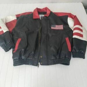 Misty Harbor Mens Bomber Jacket Multicolor Patriotic American Flag Lined Zip M