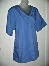 Adar Scrubs Uniform Blue Faux Wrap XXL 20 Short Sleeve Top 2 Pockets Bust 128cm