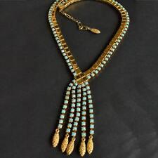 *Vintage STUNNING 60's Etruscan Revival Gold Tone Blue GlassTassel Necklace