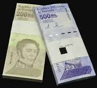 2020 Venezuela Bolivares Set $200,000 & $500,000 2 Bundles 200 Pcs New Unc Rare