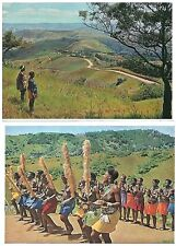 4 x Coloured Postcards - Zulu and Xhosa People South Africa 15 x 10 cm  Unused