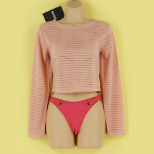 Yes Crew Neck Cropped Striped Tops & Shirts for Women
