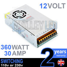 12V DC 360w 30A 230v 110v SWITCHING POWER SUPPLY PER STRISCE LED DRIVER CCTV